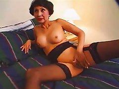 Asian, Facial, Granny, Mature, Stockings